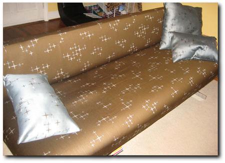 Luna Compass Upholstery Fabric on Modern Sofa