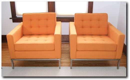 Florence Knoll Chairs with Kvadrat/Maharam Wool Upholstery Fabric